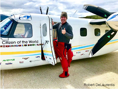 Robert DeLaurentis with his airplane